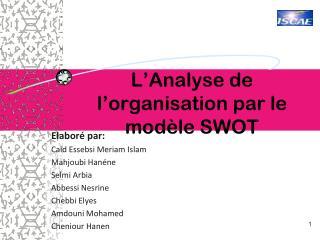 L'Analyse de l'organisation par le modèle SWOT
