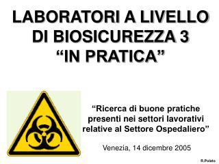 """LABORATORI A LIVELLO DI BIOSICUREZZA 3  """"IN PRATICA"""""""