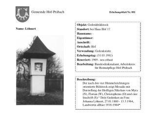 Gemeinde Höf-Präbach Erhebungsblatt Nr. 001