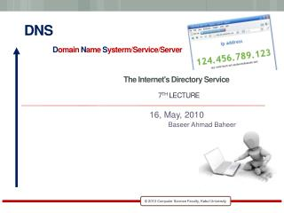 DNS D omain  N ame  S ysterm/Service/Server The Internet's Directory Service 7 th  Lecture