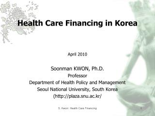 Health Care Financing in Korea