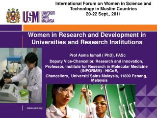 Women in Research and Development in Universities and Research Institutions