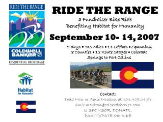 RIDE THE RANGE a Fundraiser Bike Ride  Benefiting Habitat for Humanity