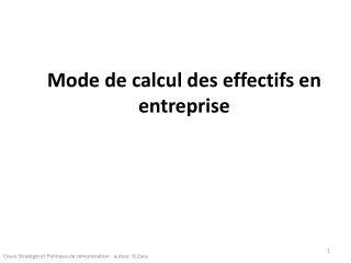 Mode de calcul des effectifs en entreprise
