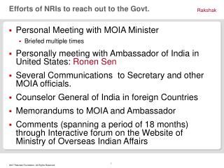 Efforts of NRIs to reach out to the Govt.