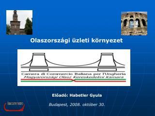 Előadó: Habetler Gyula Budapest, 2008. október 30.