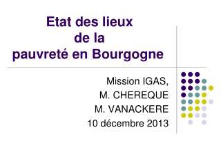 Etat des lieux  de la  pauvreté en Bourgogne
