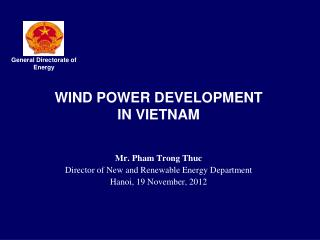 WIND POWER DEVELOPMENT  IN VIETNAM