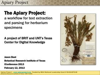 The Apiary Project: a workflow for text extraction and parsing for herbarium specimens