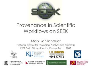 Provenance in Scientific Workflows on SEEK