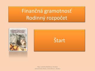 Finančná gramotnosť Rodinný rozpočet