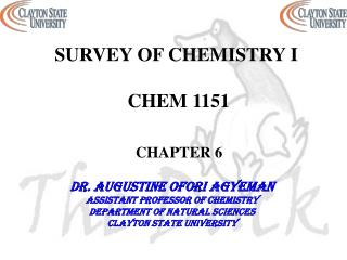 SURVEY OF CHEMISTRY I  CHEM 1151 CHAPTER 6