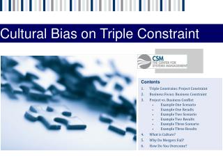 Contents Triple Constrains: Project Constraint Business Focus: Business Constraint