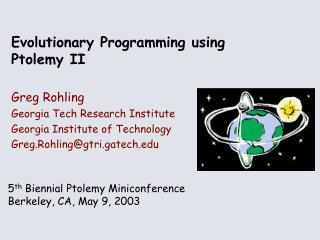 Evolutionary Programming using Ptolemy II
