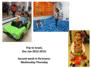 Trip to Israel,  Dec-Jan 2012-2013: Second week in Ra'anana:  Wednesday-Thursday