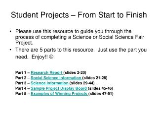 Student Projects – From Start to Finish