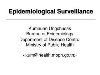 Epidemiological Surveillance
