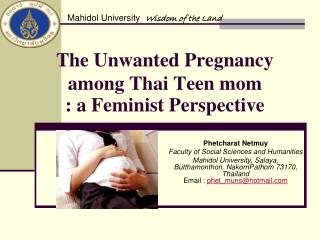 The Unwanted Pregnancy among Thai Teen mom : a Feminist Perspective