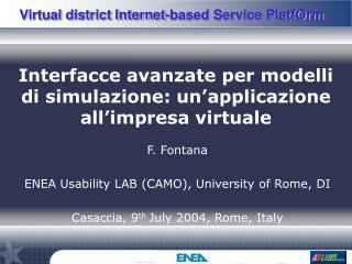 Interfacce avanzate per modelli di simulazione: un'applicazione all'impresa virtuale