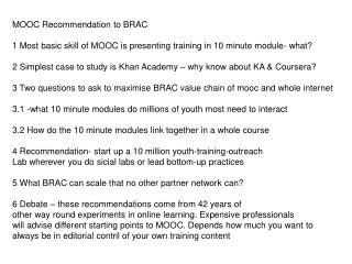 MOOC Recommendation to BRAC