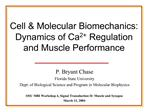 Cell  Molecular Biomechanics: Dynamics of Ca2 Regulation and Muscle Performance