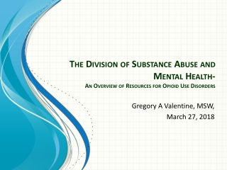 Behavioral Health Management of Substance Use Disorder Services