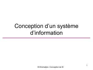 Conception d 'un système  d'information
