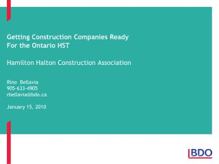 Getting Construction Companies Ready  For the Ontario HST