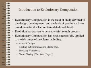Introduction to Evolutionary Computation