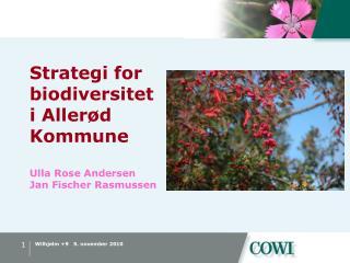 Strategi for biodiversitet  i Allerød Kommune Ulla Rose Andersen Jan Fischer Rasmussen
