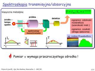 Spektroskopia  transmisyjna/absorcyjna
