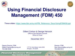 Using Financial Disclosure Management (FDM) 450