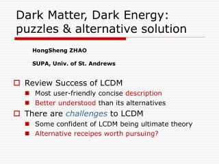 Dark Matter, Dark Energy: puzzles & alternative solution
