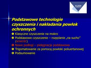 Podstawowe t echnologie  czyszczenia i nakładania powłok ochronnych