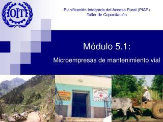 Módulo 5.1:  Microempresas de mantenimiento vial