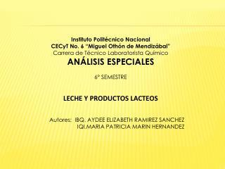 """Instituto Politécnico Nacional CECyT No. 6 """"Miguel Othón de Mendizábal"""""""