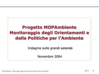 Progetto MOPAmbiente Monitoraggio degli Orientamenti e delle Politiche per l'Ambiente