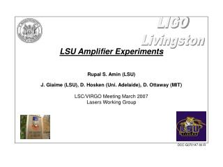 LSU Amplifier Experiments Rupal S. Amin (LSU)