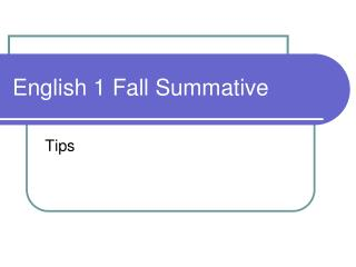 English 1 Fall Summative