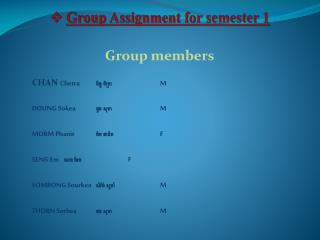 Group Assignment for semester 1