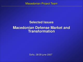 Macedonian Project Team