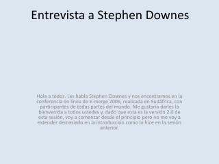 Entrevista a Stephen Downes