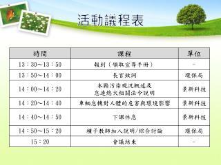 活動議程表