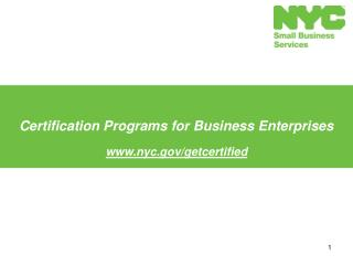 Certification Programs for Business Enterprises  nyc