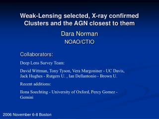 Weak-Lensing selected, X-ray confirmed Clusters and the AGN closest to them