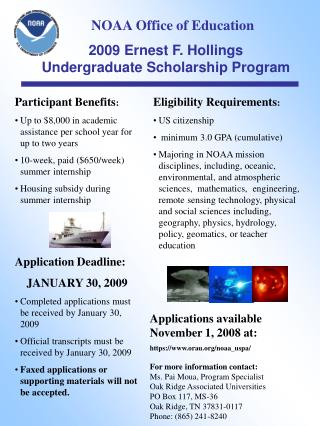 2009 Ernest F. Hollings Undergraduate Scholarship Program