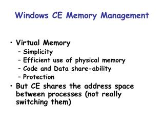 Windows CE Memory Management