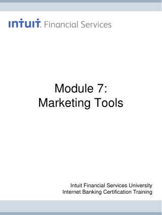 Module 7: Marketing Tools