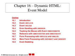 Chapter 16 – Dynamic HTML: Event Model