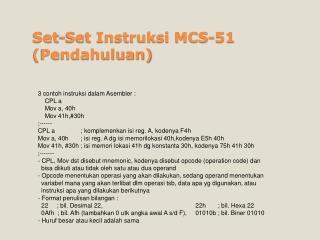 Set-Set Instruksi MCS-51 (Pendahuluan)